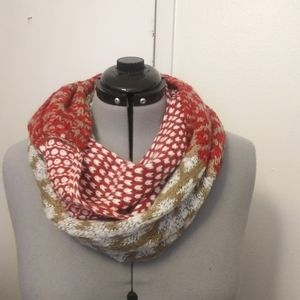 Red brown white printed infinity scarf. J.jill